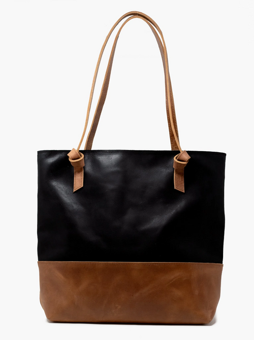 Rachel Zip Tote in Black & Whiskey