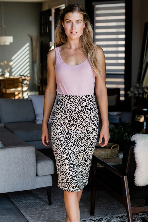 Geneva Midi Pencil Skirt in Leopard