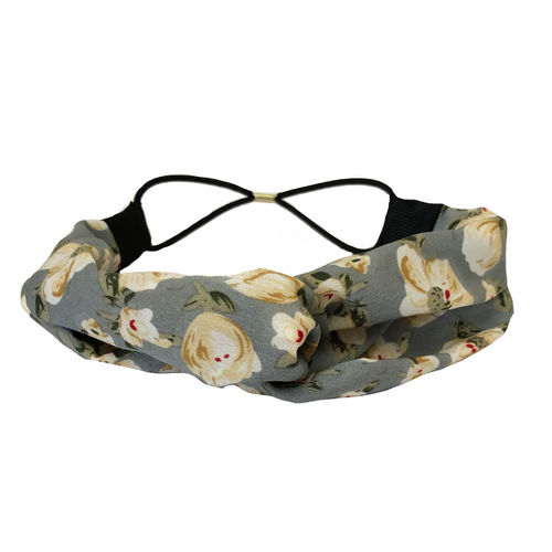 Grey Floral Twist Turban Headband