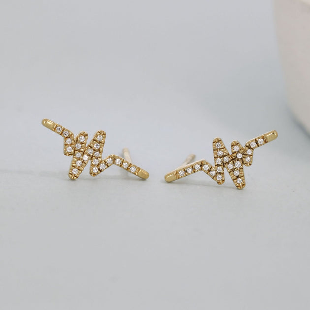 Heartbeat Studs in Gold