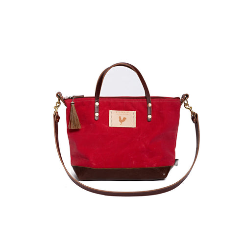 Red Waxed Canvas Handtote & Crossbody
