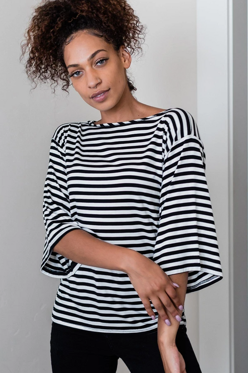 Jaclyn Shirt in Breton Stripe