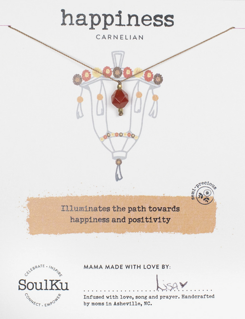 Lantern Necklace in Carnelian - Happiness