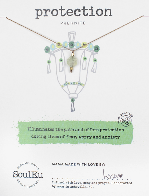 Lantern Necklace in Prehnite - Protection