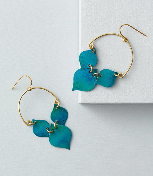 Chameli Leaf Drop Earrings - Teal