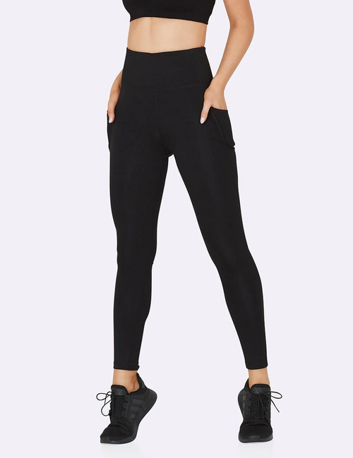 Active High-Waisted Full Length Leggings with Pockets in Black