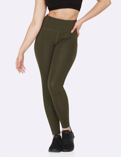 Active High-Waisted Full Length Leggings with Pockets in Dark Olive
