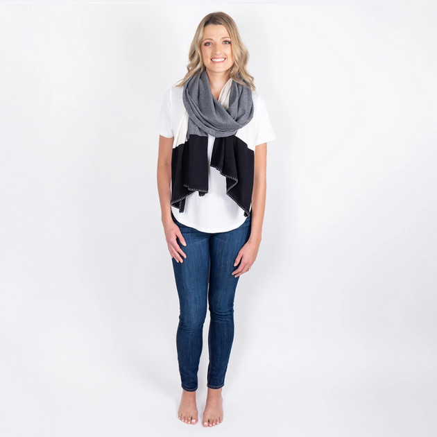 Organic Cotton Dreamsoft Blanket Scarf in Gray Colorblock