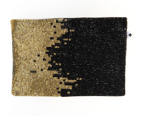 Gold Ombre Beaded Clutch