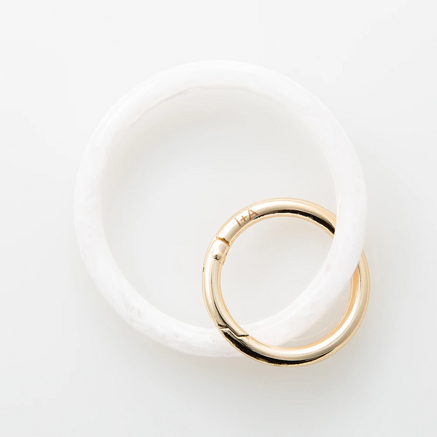 White Marbled Acetate Bangle Key Ring