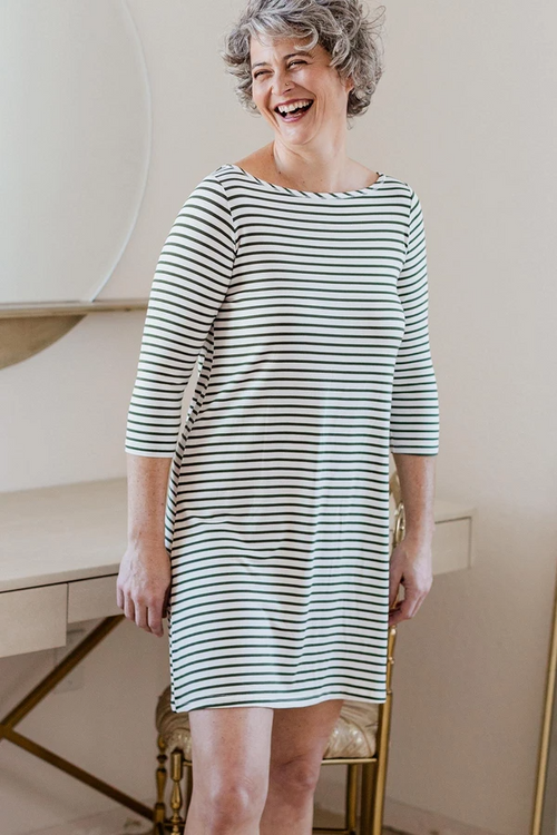 Rita Dress in Moss Newport Stripe
