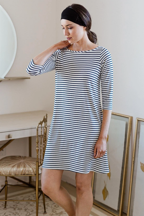 Rita Dress in Navy Newport Stripe