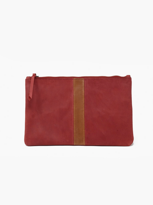 Martha Zip Pouch in Red/Cognac