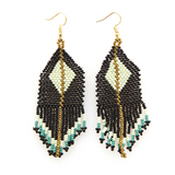 Black, Mint & Teal Diamond Seed Bead Earring