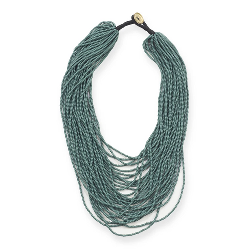 Teal Multi Layer Seed Bead Necklace