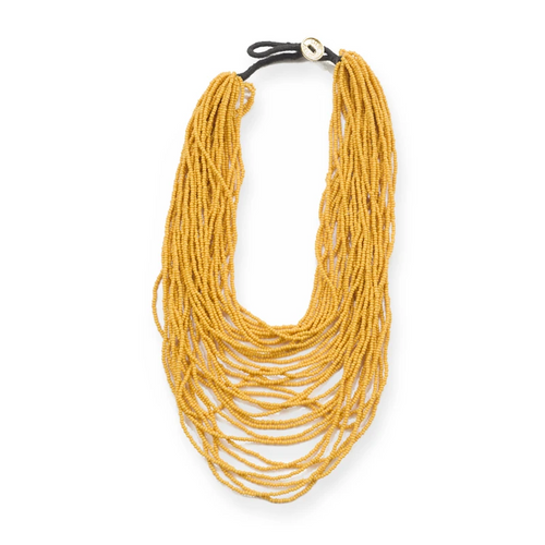 Mustard Yellow Multi Layer Seed Bead Necklace