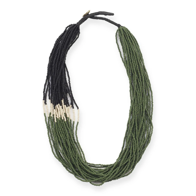 Emerald Black Ivory Multi Layer Seed Bead Necklace