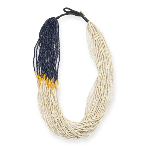 Navy Ivory Mustard Multi Layer Seed Bead Necklace