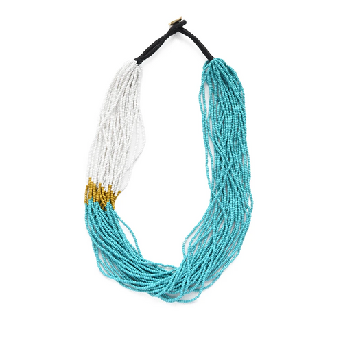 Turquoise White Citron Multi Layer Seed Bead Necklace