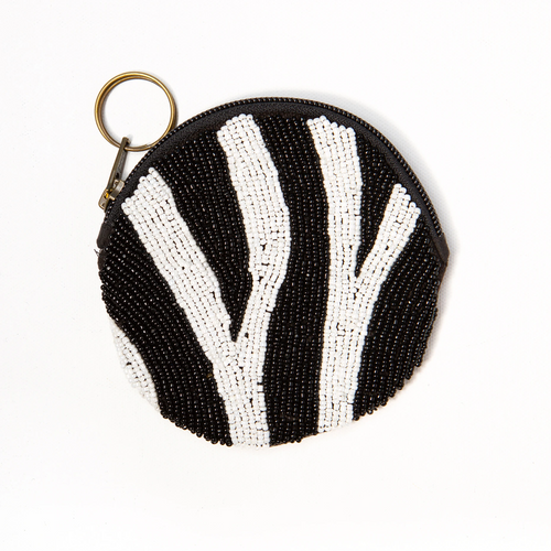 Zebra Black And White Round Zip Beaded Bag