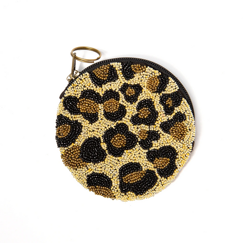 Cheetah Gold And Black Round Zip Beaded Bag