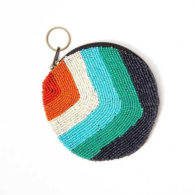 Rainbow Round Zip Beaded Bag