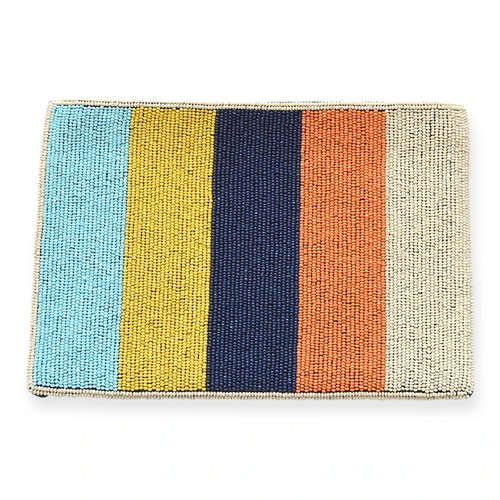 Ivory Orange Blue Color Stripe Beaded Clutch