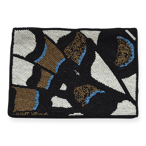Black Gold Lapis Butterfly Beaded Clutch