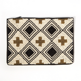 Black Ivory With Gold Cross Beaded Clutch