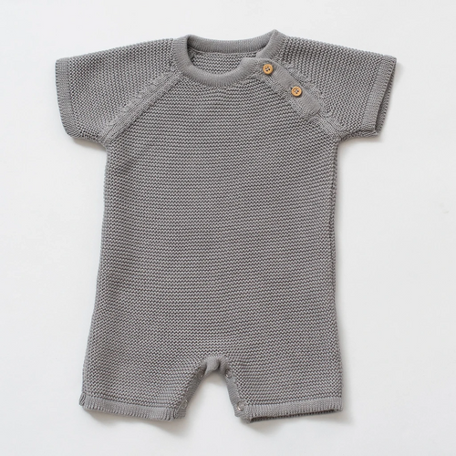 Organic Cotton Knit Short Romper in Gray