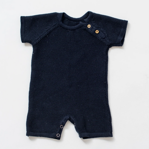 Organic Cotton Knit Short Romper in Navy