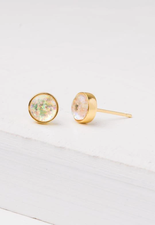 Mina Gold & Opal Stud Earrings