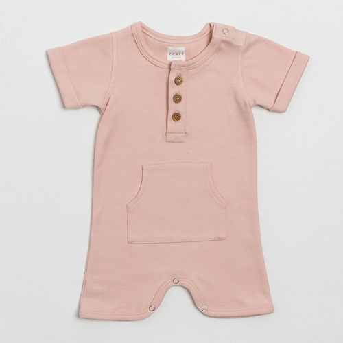 Organic Cotton Everyday Short Romper in Blush