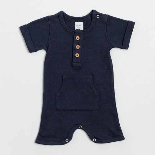 Organic Cotton Everyday Short Romper in Navy