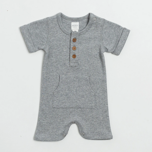 Organic Cotton Everyday Short Romper in Grey