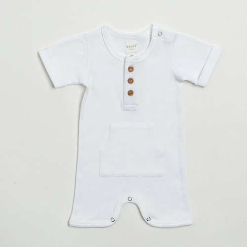 Organic Cotton Everyday Short Romper in White