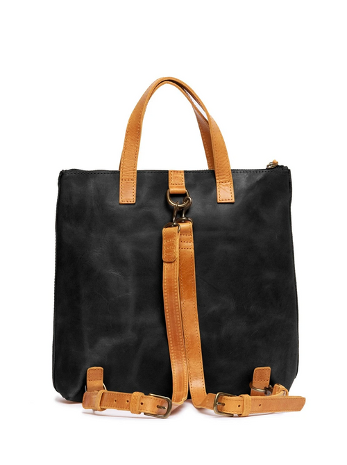 Abera Convertible Backpack in Black & Cognac