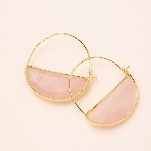 Stone Prism Hoop in Rose Quartz/Gold