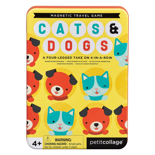 Cats + Dogs Four in a Row Magnetic Travel Game