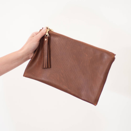 Leather Charis Clutch in Brown