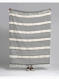 "Domenech - Gray & Natural Cotton Throw Blanket 50"" x 60"""