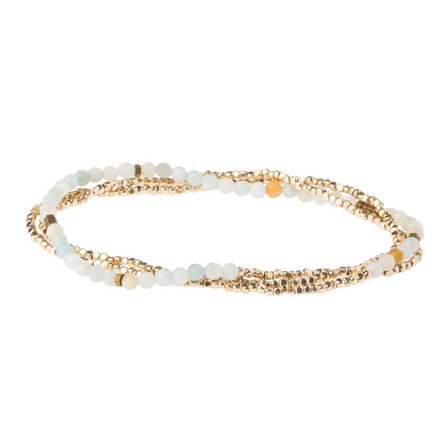 Delicate Stone Wrap Bracelet in Amazonite/Gold