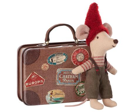Christmas Mouse with Travel Suitcase