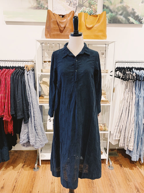 Rumer Dress in Embroidered Navy Linen