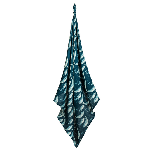 Bamboo Swaddle Blanket in Blue Whales