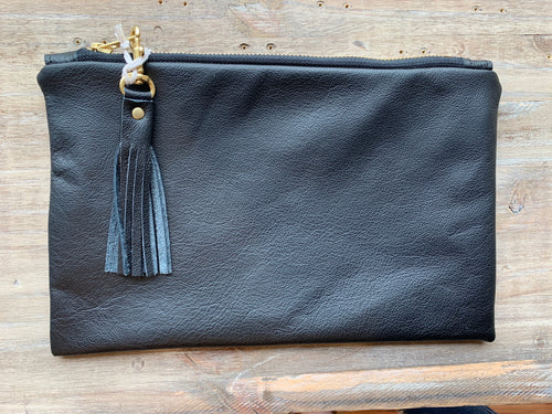 Leather Charis Clutch in Black