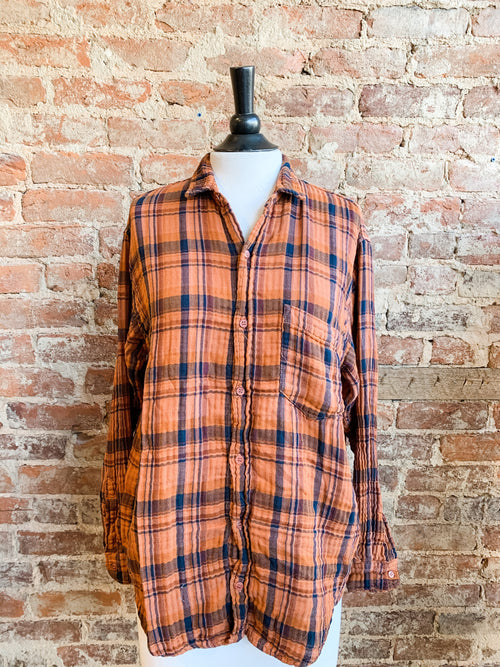 Joss Shirt in Sunset Double Cotton Plaid