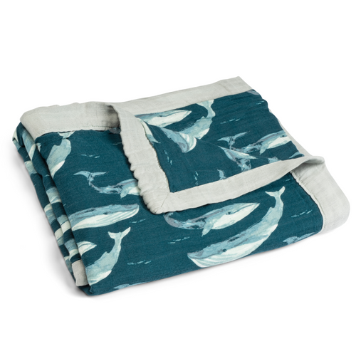 Bamboo Big Lovey Blanket in Blue Whales