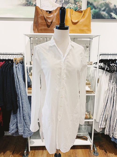 Cecelia Button Down Tunic in White Cotton Twill