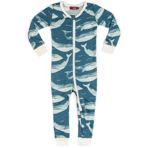 Organic Zipper Pajamas in Blue Whales